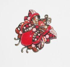 Joan Rivers Large Red Butterfly Pin Brooch      by SCLadyDiJewelry