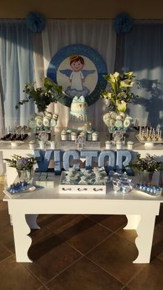 Ideas para un bautizo First Communion Party, Baptism Party, First Holy Communion, Baby Party, Baptism Ideas, Baby Boy Baptism, Boy Christening, Baby Boy Shower, Boy Baptism Centerpieces