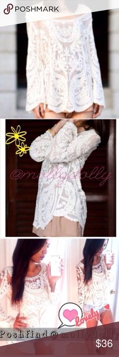 ❣LAST ONE❣ White Sheer Lace Crochet Loose Boho Top Brand new lace crochet sheer white top. Super cute so fab for the fall and winter under a vest or with a scarf! Perfect for summer nights with shorts! So versatile can be dressed up or down, tucked in or out! Fits a S/M. Tops Blouses