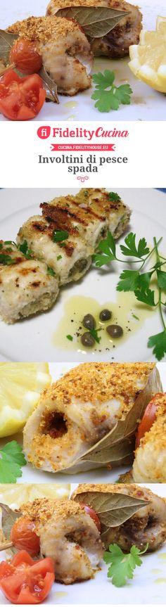 Involtini di pesce spada Italian Cooking, Italian Recipes, Frozen Strawberries, Garlic Bread, Meals For One, Fish Recipes, Finger Foods, Seafood, Cooking Recipes