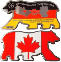 German Canadian Friendship Geocoin Antique Silver