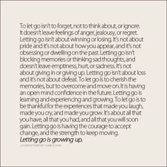 Letting go is growing up