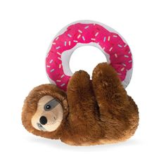 """Donut Leave Me Hangin' Sloth Plush Dog Toy Includes A Loud Squeaker And Crinkle Paper Inside. Dimensions: 10"""" x 9""""Material: Polyester, Plastic Squeaker, Crinkle Paper Funny Dog Toys, Cute Dog Toys, Cute Baby Sloths, Buy Pets, New Toys, Pet Shop, Dog Bowls, Pet Supplies, Your Pet"""