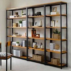 Vintage Wrought Iron separators do the old wood bookcase Ikea shelving creative custom display shelves - Shelf Bookcase - Ideas of Shelf Bookcase - Wrought iron wood shelving racks wrought iron wrought iron shelf bookcase Shelf Furniture, Furniture Showroom, Metal Furniture, Industrial Furniture, Kitchen Furniture, Modern Furniture, Home Furniture, Kitchen Decor, Modular Furniture