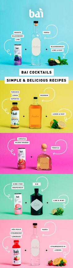 Simple cocktail recipes using Bai; a mixer with only 1 gram of sugar. Simple cocktail recipes using Bai; a mixer with only 1 gram of sugar. Easy Cocktails, Cocktail Recipes, Tequila, Rustic Contemporary, Contemporary Wallpaper, Contemporary Office, Contemporary Interior, Contemporary Stairs, Contemporary Building