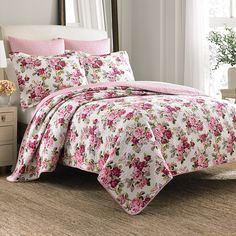 Laura Ashley Lidia Quilt Set. #BeddingStyle #floral #LauraAshley