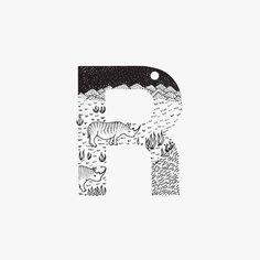 Creative Black and White Animal Alphabet – Fubiz Media Alphabet Letters Design, Animal Alphabet, Lettering Design, Hand Lettering, Alphabet Wallpaper, Drop Cap, Black And White Drawing, Letters And Numbers, Letterpress
