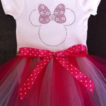 Minnie Mouse Rhinestone Tutu Onsie, Pink and Hot Pink with Pink Polka Dot Ribbon Trim