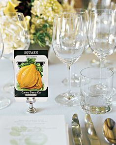 """Seed Packet Table Numbers- Tables named after seed packet in clips. """"Squash Table"""" Carrot Table"""" etc"""