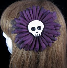 #Handmade Hair Clip / Brooch Purple Flower with Skull and Tulle by ninjavspirategifts, $16.00