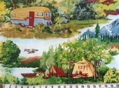 Image detail for -Retro Camping Scenic Caravan Tents Forest Fabric | eBay