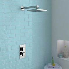 Turin High Gloss White Vanity Unit Bathroom Suite with Square Shower Bath & Screen at Victorian Plumbing UK Wet Rooms, Shower Valve, Plumbing, White Vanity Unit, Bathroom Units, Small Bathroom, Modern Shower, Shower Systems, Wall Mount