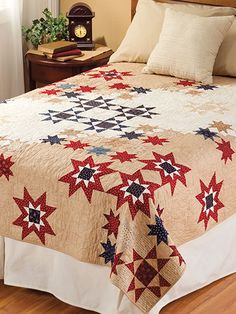 Red White and Blue Patriotic Quilt Patterns    Ohio Star Quilt Pattern