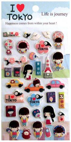Aiko Kokeshi Doll I Heart Tokyo Puffy Sticker Sheet