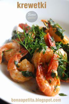 Bona Apetita! blog kulinarny, wnętrza, żyj ze smakiem!: Krewetki z natką i czosnkiem - czyli klasyk Pesto, Shrimp, Food, Essen, Meals, Yemek, Eten