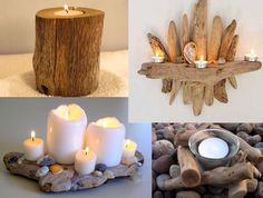 Great Diy driftwood candles ~ My desired home Driftwood Furniture, Driftwood Projects, Driftwood Art, Projects To Try, Driftwood Ideas, Crafts To Make, Home Crafts, Arts And Crafts, Diy Crafts