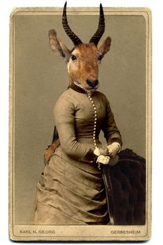 Anthropomorphic deer lady by Charlotte Cory