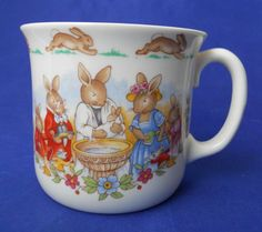 Royal Doulton Bunnykins Celebrate Your Christening 8 Oz. Mug Cup HW142 Beige #Bunnykins