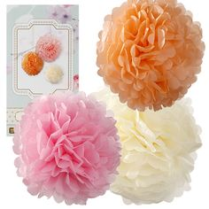 Pastel Tissue Paper Pom Poms - Tissue Paper Decorations - Party Ark