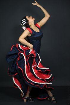 Flamenco vestido de baile flamenco azul por rojo y blanco Khokhodesigns: