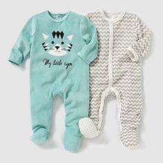 Pyjama velours (lot de 2) 0 mois-3 ans