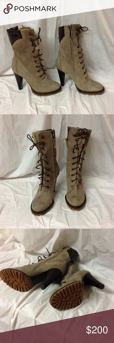 """♥️1 DAY SALE♥️ Tapeet lace up Lug boots These run a bit small, so keep that in mind. Size 39 or 8.5. 3.75"""" heel, 8"""" shaft, faux fur lining- super soft!! Tan/dark khaki. New without tags. There are some scuffs that came with them, but nothing major or really noticeable Tapeet Shoes Lace Up Boots"""