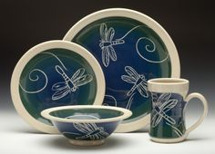 """Dinner Plate, lunch/dessert plate, bowl and mug Blue to Green Dragonfly pattern. """""""