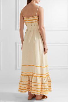 Lisa Marie Fernandez - Rick Rack-trimmed Linen Maxi Dress - Ecru - 3
