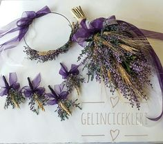 Purple patty bridal bouquet set Contact us at 05453768273 for www. Lavender Wedding Decorations, Small Wedding Bouquets, Diy Wedding Flowers, Wedding Crafts, Purple Wedding, Wedding Themes, Floral Wedding, Deco Floral, Arte Floral