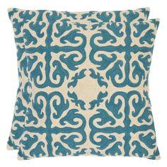Safavieh Alexis 22 in. Decorative Pillows - Blue Rain - Set of 2 - PIL100C-2222-SET2