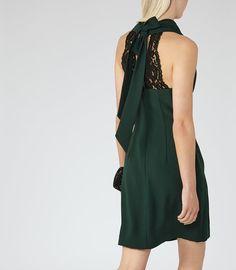 b6cc1fd6ece6 Sicily Bright Emerald Lace-Back Dress - REISS Lace Back Dresses