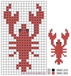Ocean lobster cross stitch.