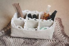 Make this cute organizer with Lion Brand Cotton-Ease! Get the crochet pattern by Evie Zozo on Ravelry (paid pattern).