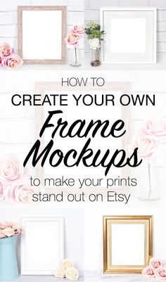 How to make your own frame mockup photos to display your prints in your etsy shop. Use Pixomize to make your own custom frame mockup styled stock photographs with or without photoshop! Etsy Business, Craft Business, Creative Business, Business Ideas, Business Help, Business Inspiration, Online Business, Etsy Seo, Selling Art
