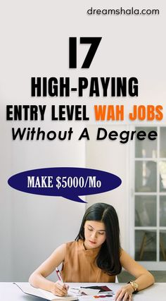 17 high-paying entry-level work at home jobs without a degree. #sidehustles #workfromhomejobs #workathome #makemoneyonline #onlinesidehustles