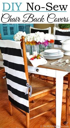 Easy + Affordable to DIY !  No Sew dining room chair back covers   In My Own Style