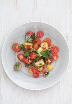 Tomato, walnut and pomegranate molasses salad recipe by Rebecca Seal Vegan Gluten Free, Vegan Vegetarian, Pomegranate Molasses, Preserved Lemons, Small Plates, Preserves, Salad Recipes