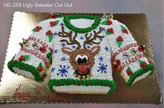 Ugly Christmas Sweater Party Ideas: The Ultimate Guide - Christmas tacky sweater birthday - Sweaters Tacky Christmas Party, Best Ugly Christmas Sweater, Christmas Sweets, Christmas Goodies, Christmas Cakes, Holiday Cakes, Ugly Xmas Sweater, Sweaters, Party Ideas