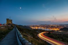 Cabot Tower on Signal Hill overlooking the harbour in St. Cabot Tower, Signal Hill, Light Trails, Light Painting, Newfoundland, Explore, Mountains, City, Building