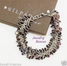 Silpada-Garnet-Cha-Cha-Bracelet-925-Sterling-Silver-8-Length-B1049-RARE
