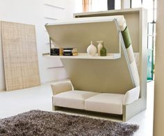 While wall beds are a great way to make space in your tiny home, this queen sized Murphy bed folds up to reveal a three-seat couch. In addition, this product comes with a built in shelf that lets you display your decor without removing it.