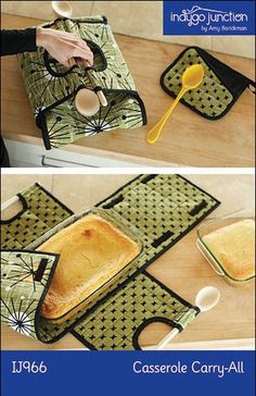 """Casserole Carry-All (IJ966) sewing pattern - Carry your favorite casserole or dessert in style with this fun insulated carrier with wooden spoon handles. Conveniently created to hold your favorite 9"""" x 13"""" casserole dish or an 8 """" or 9"""" square dish just by selecting different hook and loop tape configurations. Instructions included for a matching potholder. Perfect for hot or cold dishes."""