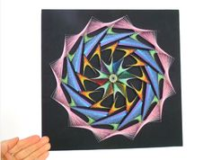 Abstract Wall Art, String Art, Diy And Crafts, Crafty, Education, Drawings, Nail String Art, Art On Wood, Mandalas