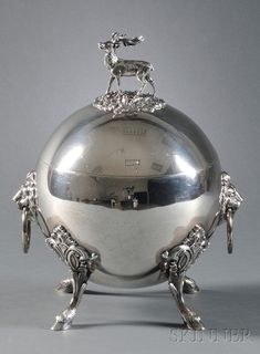 Shreve, Stanwood & Co. Sterling Silver Stag Tureen, Boston, 1860-69, round body with lid finial formed as a standing stag, body with pair of lion mask pendant handles, raised on four cloven hoof legs topped by strapwork terminals.