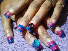 pink and blue glitter with 3d gems & bows  call Kristal at 916-670-0010 for an appointment in Sacramento