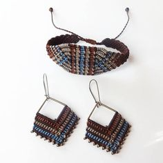 Handcrafted macrame bracelet made with linhasita 0,75 mm thread, that gives a very fine look. Used colours of thread: brown, marron, beige, grey and denim blue Czech glass beads - smoky grey colour For the perfect set, look at the earrings we have in our shop:
