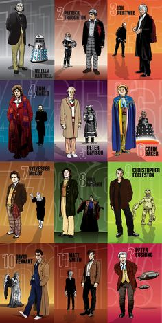 Doctor Who - The 11 Doctors & Peter Cushing as the Doctor