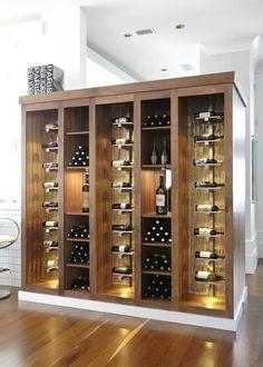 Beautiful contemporary wine cabinet. Love the lighting #winerack  #winedisplay