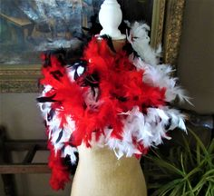 Feather boas set of 3 black, red and white vintage by BlueMoonRevival on Etsy