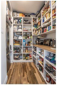 Small Kitchen Pantry, Kitchen Pantry Design, Kitchen Pantry Cabinets, Kitchen Shelves, Diy Kitchen, Kitchen Storage, Kitchen Countertops, Kitchen Corner, Kitchen Appliances